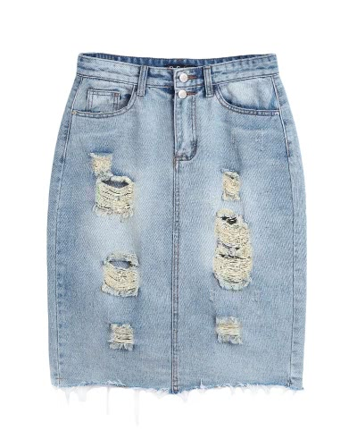 New Fashion Women Ripped Denim Skirt High Waist Pockets Split Back Distressed Pencil Skirt BlueApparel &amp; Jewelry<br>New Fashion Women Ripped Denim Skirt High Waist Pockets Split Back Distressed Pencil Skirt Blue<br>