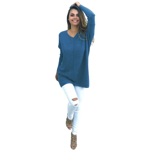 Women Autumn Winter Sweater V-Neck Loose Knitted Oversized Baggy Sweater Jumper Tops Dress Plus Size OuterwearApparel &amp; Jewelry<br>Women Autumn Winter Sweater V-Neck Loose Knitted Oversized Baggy Sweater Jumper Tops Dress Plus Size Outerwear<br>