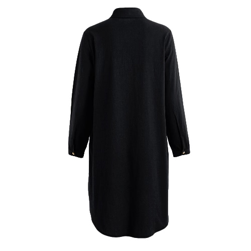 Fashion Plus Size Maxi Cotton Dress Turn-down Collar Button Hi Low Hem Long Sleeves Robe Loose Dress Green/Black