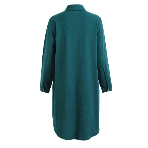 Fashion Plus Size Maxi Cotton Dress Turn-down Collar Button Hi Low Hem Long Sleeves Robe Loose Dress Green/BlackApparel &amp; Jewelry<br>Fashion Plus Size Maxi Cotton Dress Turn-down Collar Button Hi Low Hem Long Sleeves Robe Loose Dress Green/Black<br>