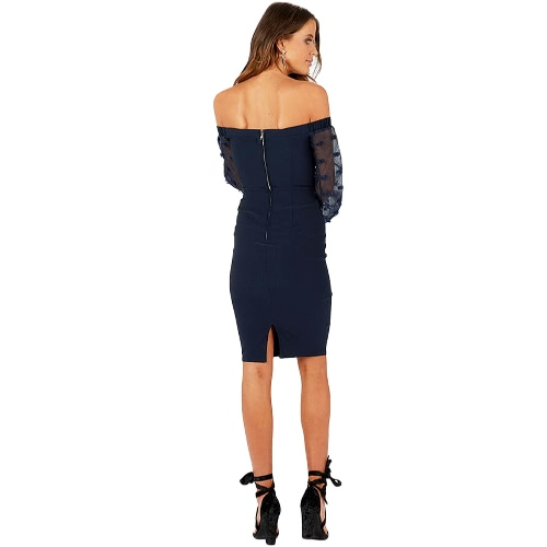 Women Sexy Off Shoulder Dress Long Sleeves Backless Knee Length Casual Party Dress White/Dark BlueApparel &amp; Jewelry<br>Women Sexy Off Shoulder Dress Long Sleeves Backless Knee Length Casual Party Dress White/Dark Blue<br>