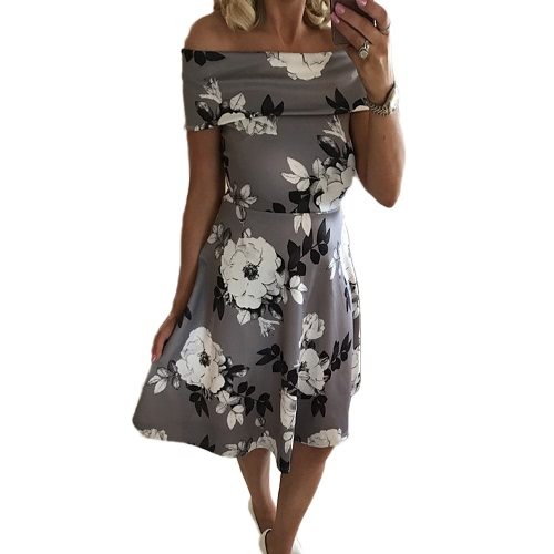 Women Floral Off the Shoulder Dress Slash Neck Short Sleeves A-Line Vintage Elegant Casual Party DressApparel &amp; Jewelry<br>Women Floral Off the Shoulder Dress Slash Neck Short Sleeves A-Line Vintage Elegant Casual Party Dress<br>