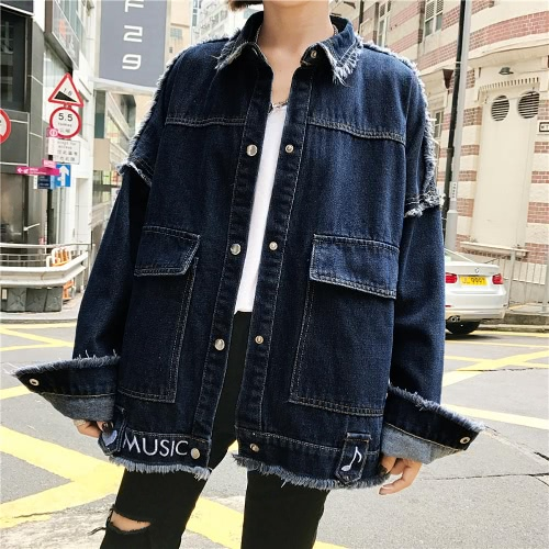 Embroidery Autumn Women Denim Jacket Vintage Long Sleeves Loose Female Jeans Coat Casual Outerwear Blue/Dark BlueApparel &amp; Jewelry<br>Embroidery Autumn Women Denim Jacket Vintage Long Sleeves Loose Female Jeans Coat Casual Outerwear Blue/Dark Blue<br>
