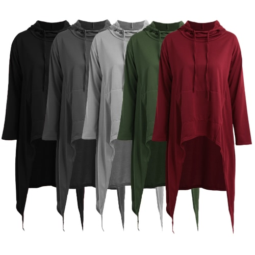 Fashion Women Hoodies Dress Hooded Neck Drawstring Asymmetric Long Sleeves Pullover Casual SweatshirtApparel &amp; Jewelry<br>Fashion Women Hoodies Dress Hooded Neck Drawstring Asymmetric Long Sleeves Pullover Casual Sweatshirt<br>