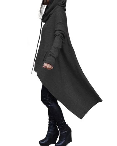 Fashion Women Hoodies Dress Hooded Neck Drawstring Asymmetric Long Sleeves Pullover Casual SweatshirtApparel &amp; Jewelry<br>Fashion Women Hoodies Dress Hooded Neck Drawstring Asymmetric Long Sleeves Pullover Casual Sweatshirt<br>