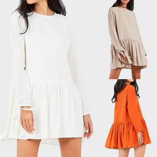 Autumn Women Mini Dress Solid Long Sleeve Bandage Ruffled Hem Casual Loose Dress Khaki/White/OrangeApparel &amp; Jewelry<br>Autumn Women Mini Dress Solid Long Sleeve Bandage Ruffled Hem Casual Loose Dress Khaki/White/Orange<br>