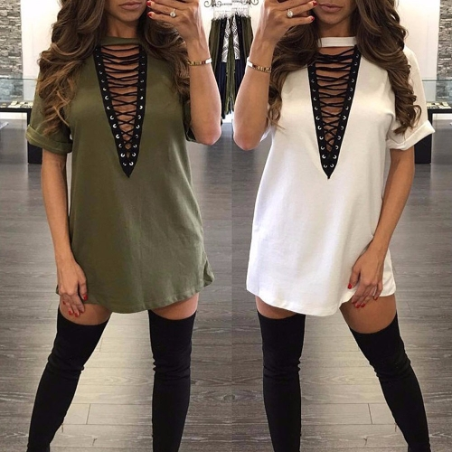 Women Lace Up Mini Dress Hollow Out Plunge V Short Sleeves Long T-Shirt Plus Size Casual Dress VestidosApparel &amp; Jewelry<br>Women Lace Up Mini Dress Hollow Out Plunge V Short Sleeves Long T-Shirt Plus Size Casual Dress Vestidos<br>