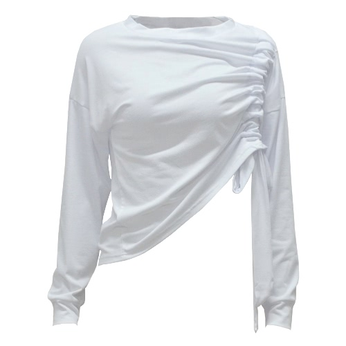 New Sexy Women Drawstring Crop Top Long Sleeve Basic T-Shirt Casual Solid Slim Blouse WhiteApparel &amp; Jewelry<br>New Sexy Women Drawstring Crop Top Long Sleeve Basic T-Shirt Casual Solid Slim Blouse White<br>
