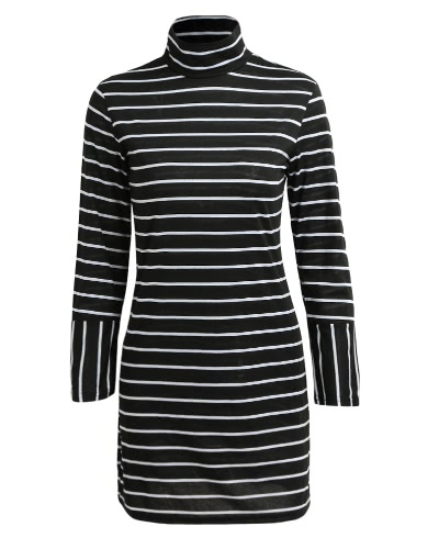 New Women Stripe Dress Turtleneck Long Sleeve Casual Pencil Mini Dress BlackApparel &amp; Jewelry<br>New Women Stripe Dress Turtleneck Long Sleeve Casual Pencil Mini Dress Black<br>