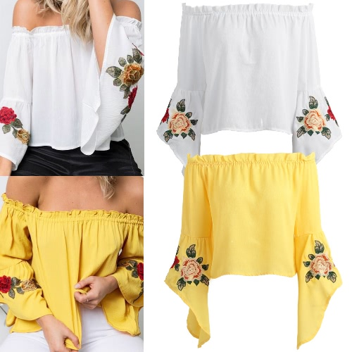 Women Embroidered Off Shoulder Top Bell Sleeves Floral Elastic Slash Neck Casual Shirt Blouse TopApparel &amp; Jewelry<br>Women Embroidered Off Shoulder Top Bell Sleeves Floral Elastic Slash Neck Casual Shirt Blouse Top<br>