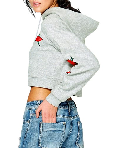Autumn Women Crop Hoodie Sweatshirts Floral Embroidery Drawstring Long Sleeve Loose Short Pullover Hooded Tops Black/GreyApparel &amp; Jewelry<br>Autumn Women Crop Hoodie Sweatshirts Floral Embroidery Drawstring Long Sleeve Loose Short Pullover Hooded Tops Black/Grey<br>