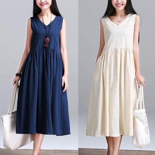 New Vintage Women Cotton Linen V Neck Sleeveless Loose Dress Ruched Waist Relaxed Cami Tank Dress Dark Blue/WhiteApparel &amp; Jewelry<br>New Vintage Women Cotton Linen V Neck Sleeveless Loose Dress Ruched Waist Relaxed Cami Tank Dress Dark Blue/White<br>
