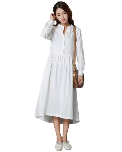 Fashion Women Cotton Linen Midi Dress Front Button Long Sleeve Asymmetric Hem Solid Irregular Dress Black/White