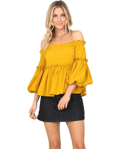 New Autumn Retro Women Off the Shoulder Ruffles Top Solid Color Beach Party Blouse YellowApparel &amp; Jewelry<br>New Autumn Retro Women Off the Shoulder Ruffles Top Solid Color Beach Party Blouse Yellow<br>