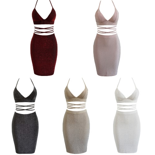 Sexy Women Cami Two Piece Set Halter Strap Crop Top Bandage Bralette Bodycon Midi Skirt Set Party Nightclub OutfitApparel &amp; Jewelry<br>Sexy Women Cami Two Piece Set Halter Strap Crop Top Bandage Bralette Bodycon Midi Skirt Set Party Nightclub Outfit<br>