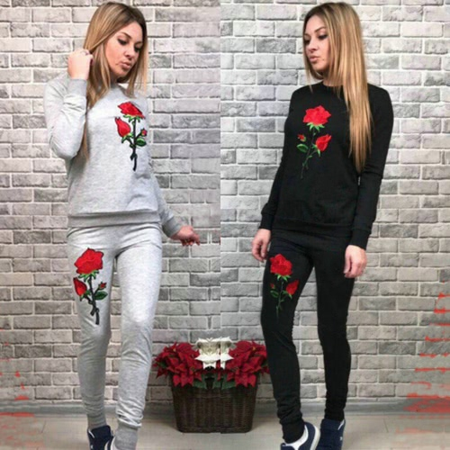 Women Floral Embroidery Long Sleeves Tracksuit Sweatshirt Spring Autumn Casual Sports Suit Set Top Long Pants Black/GreyApparel &amp; Jewelry<br>Women Floral Embroidery Long Sleeves Tracksuit Sweatshirt Spring Autumn Casual Sports Suit Set Top Long Pants Black/Grey<br>