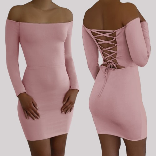 Women Bodycon Off Shoulder Dress Lace Up Open Back Slash Neck Long Sleeves Sheath Mini Party DressApparel &amp; Jewelry<br>Women Bodycon Off Shoulder Dress Lace Up Open Back Slash Neck Long Sleeves Sheath Mini Party Dress<br>