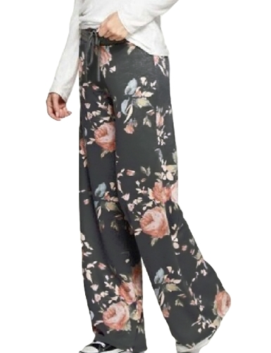 Women Casual Loose Boho Pants Floral Star Striped Print American Flag High Elastic Waist Long Trousers Wide Leg PantsApparel &amp; Jewelry<br>Women Casual Loose Boho Pants Floral Star Striped Print American Flag High Elastic Waist Long Trousers Wide Leg Pants<br>
