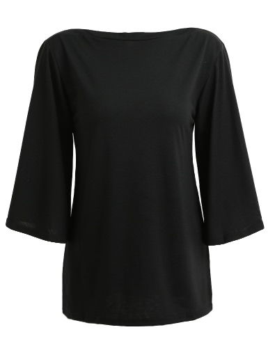 Fashion Women Casual Blouse Boat Neck Three Quarter Flare Sleeve Solid Slash Neck Shirt Autumn Tee Tops