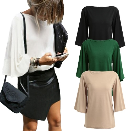 Fashion Women Casual Blouse Boat Neck Three Quarter Flare Sleeve Solid Slash Neck Shirt Autumn Tee TopsApparel &amp; Jewelry<br>Fashion Women Casual Blouse Boat Neck Three Quarter Flare Sleeve Solid Slash Neck Shirt Autumn Tee Tops<br>