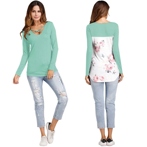 New Fashion Women Floral Printed T-shirt Cross V Neck Long Sleeves Asymmetric Tee Shirt TopsApparel &amp; Jewelry<br>New Fashion Women Floral Printed T-shirt Cross V Neck Long Sleeves Asymmetric Tee Shirt Tops<br>