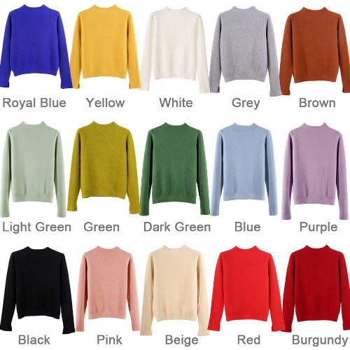 New Women Knit Sweater Pullover Jumper Turtleneck Slit Long Sleeve Casual Knitwear TopsApparel &amp; Jewelry<br>New Women Knit Sweater Pullover Jumper Turtleneck Slit Long Sleeve Casual Knitwear Tops<br>