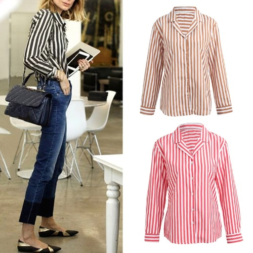 Fashion Women Striped Shirt Button Front Turn Down Collar Long Sleeve Loose Shirt Tops Blouse Black/Coffee/RedApparel &amp; Jewelry<br>Fashion Women Striped Shirt Button Front Turn Down Collar Long Sleeve Loose Shirt Tops Blouse Black/Coffee/Red<br>