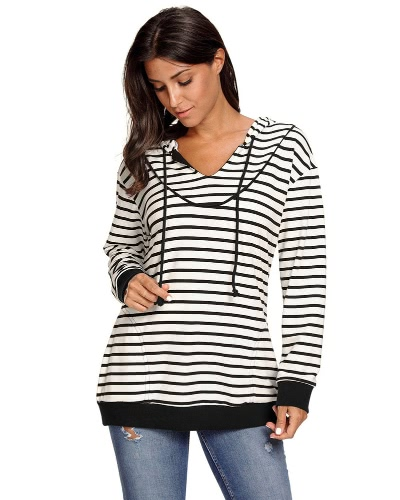 New Women Hooded Sweater Stripes Long Sleeve V-Neck Pockets Casual Elegant Hoodies TopApparel &amp; Jewelry<br>New Women Hooded Sweater Stripes Long Sleeve V-Neck Pockets Casual Elegant Hoodies Top<br>