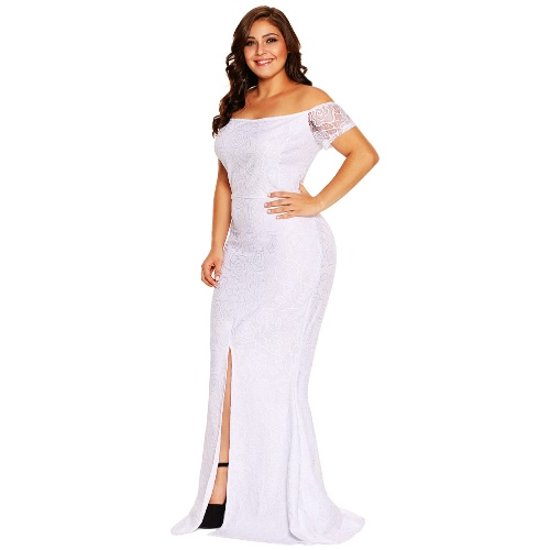 Fashion Women Plus Size Maxi Off Shoulder Lace Dress Short Sleeves Split Hem Back Zipper Elegant Long Gown Pink/WhiteApparel &amp; Jewelry<br>Fashion Women Plus Size Maxi Off Shoulder Lace Dress Short Sleeves Split Hem Back Zipper Elegant Long Gown Pink/White<br>