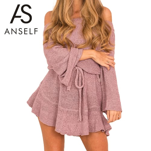 New Sexy Women Off Shoulder Knitting Sweater Dress Elegant Ruffle Sash Long Sleeve Casual Jumper Party DressApparel &amp; Jewelry<br>New Sexy Women Off Shoulder Knitting Sweater Dress Elegant Ruffle Sash Long Sleeve Casual Jumper Party Dress<br>