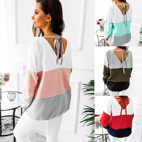 Fashion Women Blouse Sweatshirt Contrast Color Block Long Sleeve Lace-Up Casual Loose Pullover Tee Shirt TopsApparel &amp; Jewelry<br>Fashion Women Blouse Sweatshirt Contrast Color Block Long Sleeve Lace-Up Casual Loose Pullover Tee Shirt Tops<br>