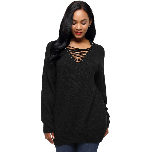 New Women Knitted Sweater Lace Up Pullover Jumper V-Neck Long Sleeve Casual Loose Knitwear TopsApparel &amp; Jewelry<br>New Women Knitted Sweater Lace Up Pullover Jumper V-Neck Long Sleeve Casual Loose Knitwear Tops<br>