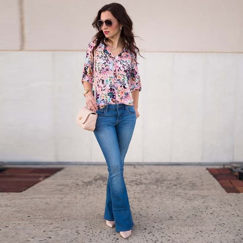Fashion Women Casual Shirt Floral Print Turn-Down Collar Long Sleeve Loose Blouse Tops PinkApparel &amp; Jewelry<br>Fashion Women Casual Shirt Floral Print Turn-Down Collar Long Sleeve Loose Blouse Tops Pink<br>