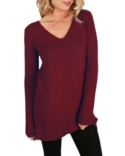 Sexy Women Loose Knitted Sweater Solid Lace Up Back Bandage V Neck Long Sleeve Hollow Out PulloverApparel &amp; Jewelry<br>Sexy Women Loose Knitted Sweater Solid Lace Up Back Bandage V Neck Long Sleeve Hollow Out Pullover<br>