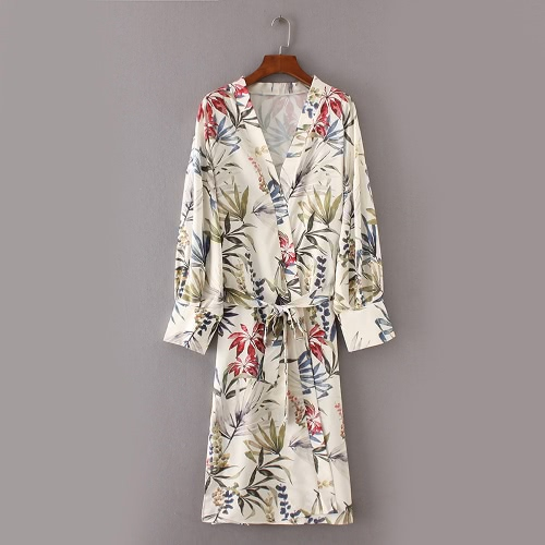 Women Flower Print Sash Kimono Shirt Retro Bandage Cardigan Blouse Top Long Sleeve Split Boho Beach Cover Up GreenApparel &amp; Jewelry<br>Women Flower Print Sash Kimono Shirt Retro Bandage Cardigan Blouse Top Long Sleeve Split Boho Beach Cover Up Green<br>