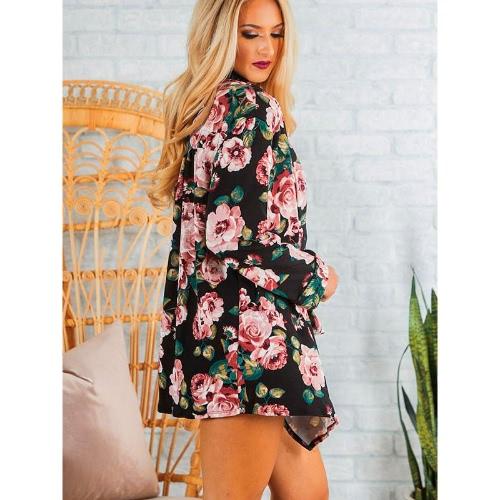 New Fashion Women Kimono Cardigan Floral Print Ruffle Top Plus Size Casual Outwear Coat BlackApparel &amp; Jewelry<br>New Fashion Women Kimono Cardigan Floral Print Ruffle Top Plus Size Casual Outwear Coat Black<br>