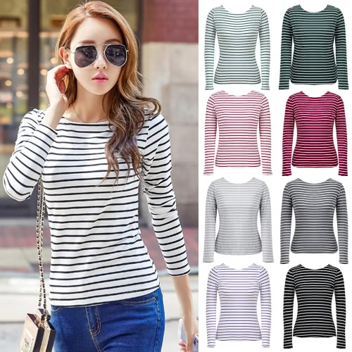 Women Striped T-Shirt Long Sleeves O Neck Vintage Casual Tees Tops Plus Size PulloverApparel &amp; Jewelry<br>Women Striped T-Shirt Long Sleeves O Neck Vintage Casual Tees Tops Plus Size Pullover<br>