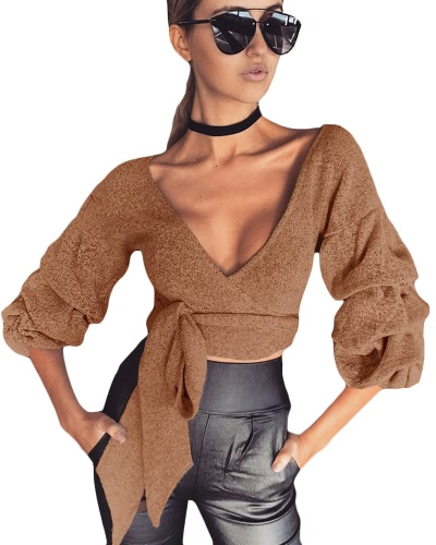 Sexy Women Crop Top Blouse Deep V-Neck 3/4 Sleeves Straps Solid Color Elegant Casual TopApparel &amp; Jewelry<br>Sexy Women Crop Top Blouse Deep V-Neck 3/4 Sleeves Straps Solid Color Elegant Casual Top<br>