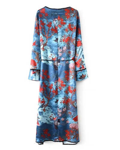 Vintage Women Plus Size Kimono Floral Bird Print V Neck Tied Ethnic Oriental Outerwear Cover Up Cardigan BlueApparel &amp; Jewelry<br>Vintage Women Plus Size Kimono Floral Bird Print V Neck Tied Ethnic Oriental Outerwear Cover Up Cardigan Blue<br>