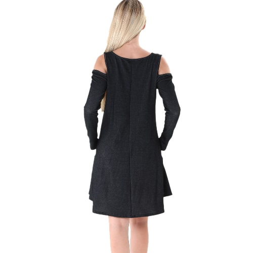 Autumn Women Mini Dress Solid Off Shoulder Long Sleeve Casual Loose Dress Black/Blue/Dark BlueApparel &amp; Jewelry<br>Autumn Women Mini Dress Solid Off Shoulder Long Sleeve Casual Loose Dress Black/Blue/Dark Blue<br>