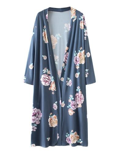 New Retro Women Long Cardigan Kimono Open Front Floral Print 3/4 Sleeve Vintage OuterwearApparel &amp; Jewelry<br>New Retro Women Long Cardigan Kimono Open Front Floral Print 3/4 Sleeve Vintage Outerwear<br>