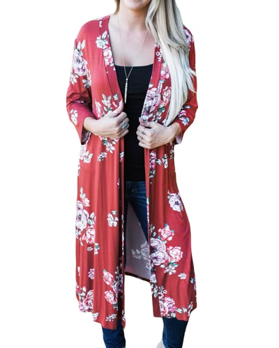 New Retro Women Long Cardigan Kimono Open Front Floral Print 3/4 Sleeve Vintage OuterwearApparel &amp; Jewelry<br>New Retro Women Long Cardigan Kimono Open Front Floral Print 3/4 Sleeve Vintage Outerwear<br>