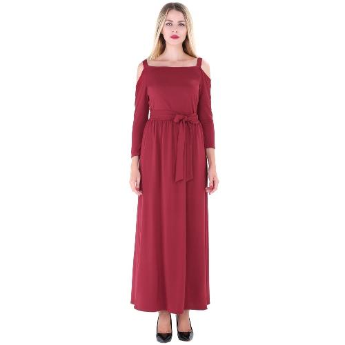 New Women Long Dress Off Shoulder Solid Color Belt 3/4 Sleeves Elegant Casual A-Line DressesApparel &amp; Jewelry<br>New Women Long Dress Off Shoulder Solid Color Belt 3/4 Sleeves Elegant Casual A-Line Dresses<br>