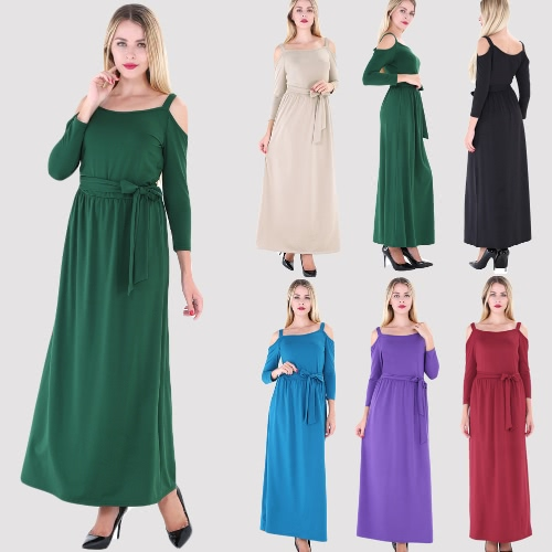New Women Long Dress Off Shoulder Solid Color Belt 3/4 Sleeves Elegant Casual A-Line DressesApparel &amp; Jewelry<br>New Women Long Dress Off Shoulder Solid Color Belt 3/4 Sleeves Elegant Casual A-Line Dresses<br>