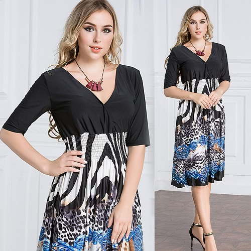 Sexy Women Plunge V Neck Print Plus Size Dress Big Size Knee-Length Midi Party Dress BlackApparel &amp; Jewelry<br>Sexy Women Plunge V Neck Print Plus Size Dress Big Size Knee-Length Midi Party Dress Black<br>