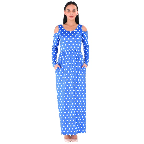 Autumn Women Maxi Dress Polka Dot Off Shoulder Long Sleeve Casual Party Dress Black/Blue/WhiteApparel &amp; Jewelry<br>Autumn Women Maxi Dress Polka Dot Off Shoulder Long Sleeve Casual Party Dress Black/Blue/White<br>