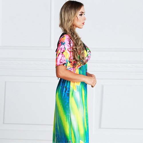 Elegant Women Maxi Dress Floral Print Plunge V Neck Short Sleeve Russian Long Ice Silk Dress BlueApparel &amp; Jewelry<br>Elegant Women Maxi Dress Floral Print Plunge V Neck Short Sleeve Russian Long Ice Silk Dress Blue<br>