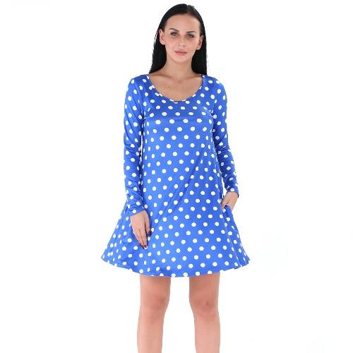 Women Polka Dot Mini Dress O-Neck Long Sleeve Pullover Casual A-Line Dress Black/White/BlueApparel &amp; Jewelry<br>Women Polka Dot Mini Dress O-Neck Long Sleeve Pullover Casual A-Line Dress Black/White/Blue<br>