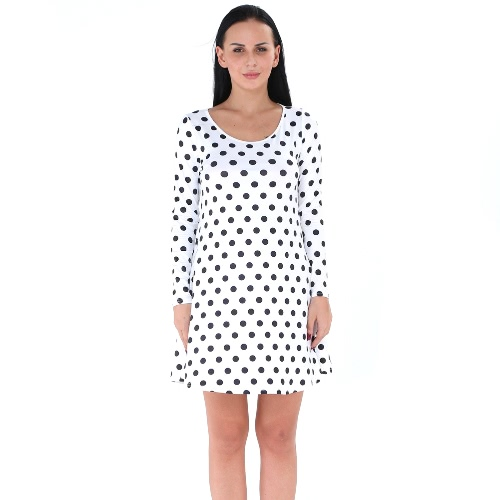 Women Polka Dot Mini Dress O-Neck Long Sleeve Pullover Casual A-Line Dress Black/White/BlueApparel &amp; Jewelry<br>Women Polka Dot Mini Dress O-Neck Long Sleeve Pullover Casual A-Line Dress Black/White/Blue<br>