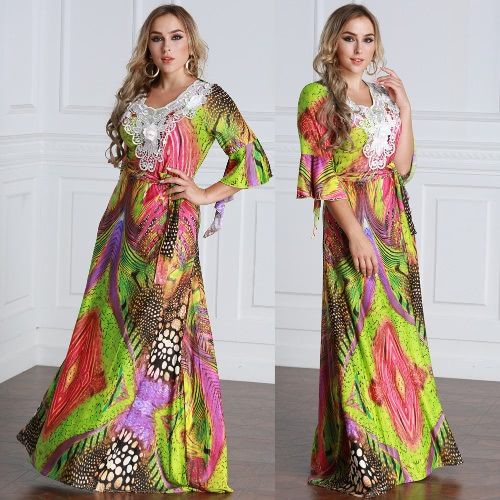 Women Plus Size Muslim Dress Colorful Crochet Lace V Neck High Waist Tied Belt Long Gown Islamic RobeApparel &amp; Jewelry<br>Women Plus Size Muslim Dress Colorful Crochet Lace V Neck High Waist Tied Belt Long Gown Islamic Robe<br>